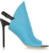 Balenciaga Textured-leather Mules - Sky blue