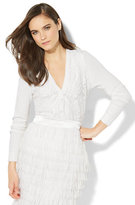 New York & Co. 7th Avenue - Lace-Overlay V-Neck Chelsea Cardigan