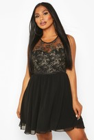 boohoo Metallic Floral Chiffon Dress