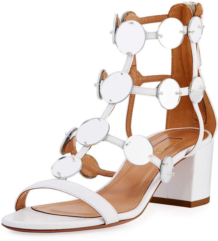 Aquazzura Indian Moon Block-Heel Sandal