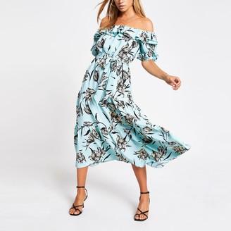 River Island Womens Blue floral tie belted bardot midi dress