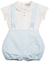 Pili Carrera Short-Sleeve Linen Shirt w/ Bubble Shorts, Blue, Size 3-18 Months