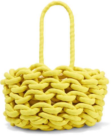Alienina Woven Cotton Bucket Bag - Yellow