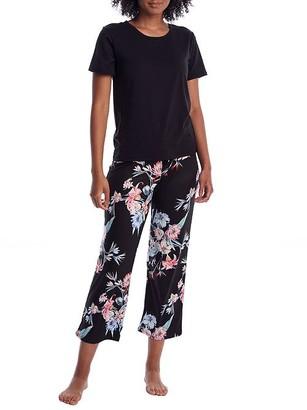Flora Nikrooz Floral Knit Cropped Pajama Set