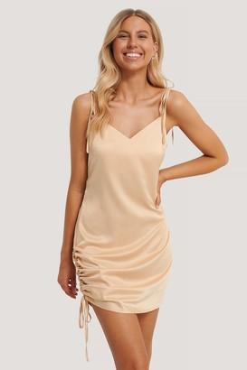 Chloé B X NA-KD Satin Drawstring Mini Dress