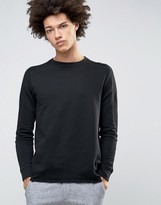 Selected Crew Neck Sweatshirt with Ribbed Arm Detail