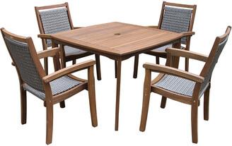 Outdoor Interiors 5Pc Wicker & Eucalyptus Dining Set