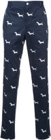 Thom Browne dog print tapered trousers - men - Cotton - 2