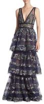 Marchesa Embroidered Stripe Tiered Gown