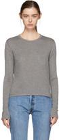 Alexander Wang Grey Long Sleeve Classic Cropped T-Shirt