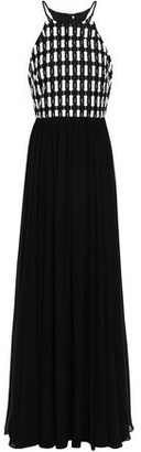 Badgley Mischka Guipure Lace-paneled Chiffon Gown