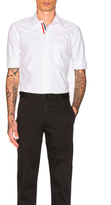 Thom Browne Classic Short Sleeve Button Down with Ribbon Placket