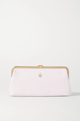 Mark Cross Susanna Frame Croc-effect Leather Clutch - White