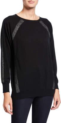 Neiman Marcus Metallic-Trim Long-Sleeve Cashmere Pullover
