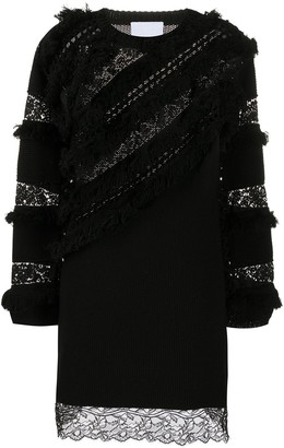 Koché Lace-Embellished Knitted Dress