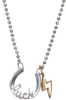 "Alex Woo Sterling Silver Little Words 'Luck"" Pendant Necklace"