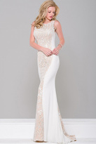 Jovani Fitted Jersey Long Dress with Lace Panel JVN36774