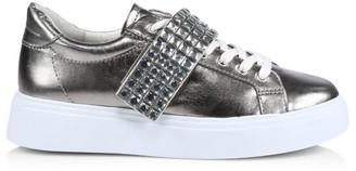 Schutz Maiva Crystal-Embellished Metallic Leather Sneakers