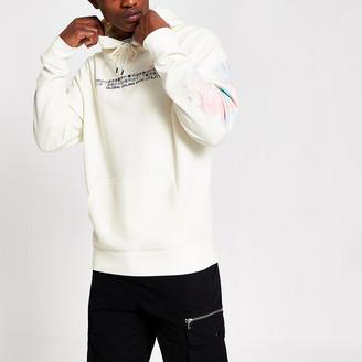 River Island White printed long sleeve slim fit hoodie