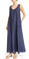 Loro Piana Sleeveless Frayed-Trim Linen Maxi Dress, Caspian Blue