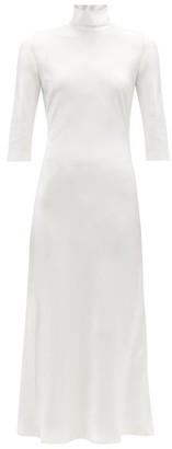 Galvan St Germain High-neck Satin Midi Dress - White