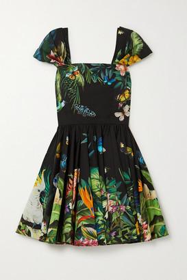 Dolce & Gabbana Pleated Printed Cotton-poplin Mini Dress - Green