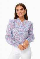 Banjanan White Blue Clover Field Nina Shirt