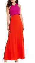 Jill Jill Stuart Halter Popover Colorblock Gown