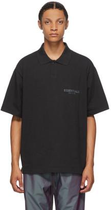 Essentials Black Logo Polo