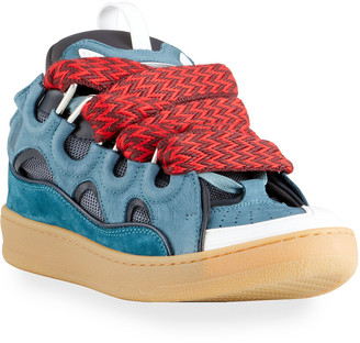 Lanvin Men's Curb Skate Exaggerated Lace-Up Sneakers