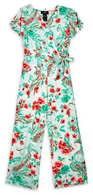 Amy Byer Girls 7-16 Flutter Sleeve Floral Jumpsuit With Necklace