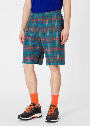 Paul Smith Men's Multi-Coloured Check Cotton And Linen Shorts