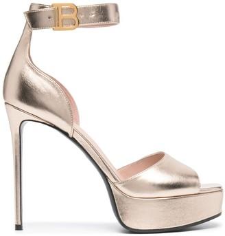 Balmain Metallic Ankle-Strap Platform Sandals