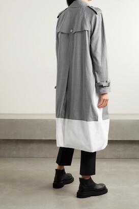 Junya Watanabe Layered Checked Wool-blend And Cotton-poplin Trench Coat - Gray
