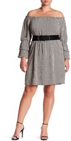 Bobeau Poet Sleeve Menswear Striped Dress (Plus Size)