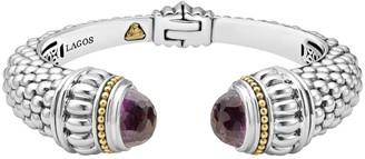 Lagos Sterling Silver & 18K Gold Hinge Cuff Bracelet