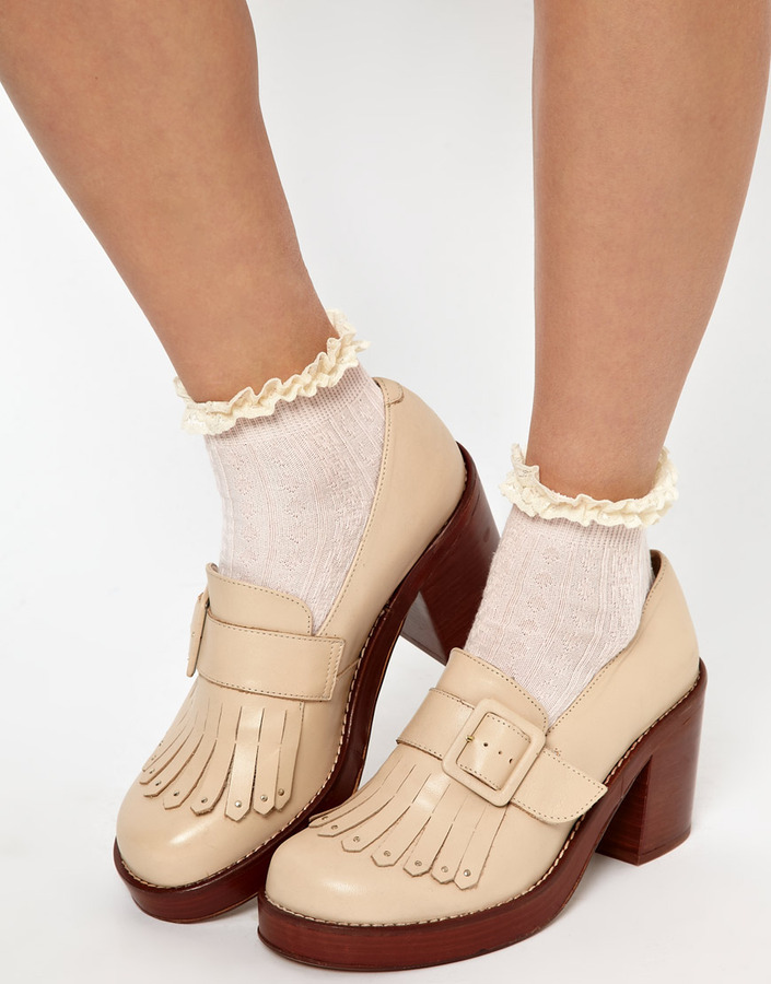 River Island Pink Light Cable Design Frill Ankle Sock