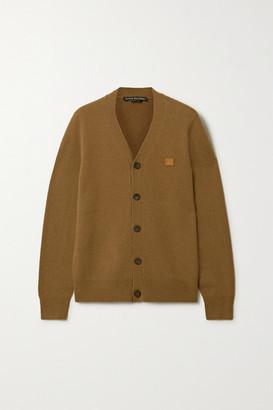 Acne Studios Keve Face Appliqued Wool Cardigan - Brown