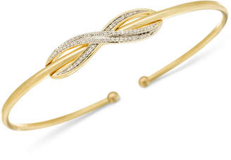 Wrapped Diamond Infinity Bangle Bracelet (1/6 ct. t.w.) in 14k Gold-Plated Sterling Silver