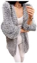 ARJOSA Women's Faux Fur Mohair Fleece Open Front Cardigan Sweater Knitwear Loose Top (L, Grey)