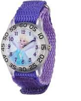 Disney Kids' Frozen Snow Queen Elsa, W001791, Plastic Case with Purple Nylon Strap, Analog Display, Purple Watch