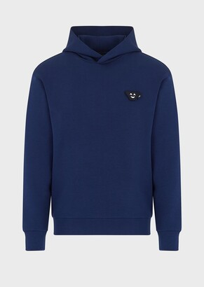 Emporio Armani Double Jersey, Hooded Sweatshirt With Emoji Patch