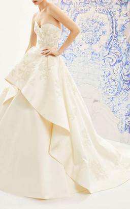 Carolina Herrera Bridal Ivonne Strapless Silk Ballgown With Floral Emb