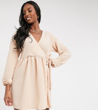 Asos Tall ASOS DESIGN Tall smock oversized mini wrap dress in camel