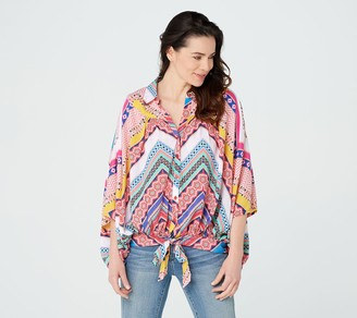 Tolani Collection Multi Print Front-Tie Top