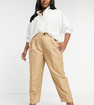 ASOS DESIGN Curve high waist tapered suit pants in camel