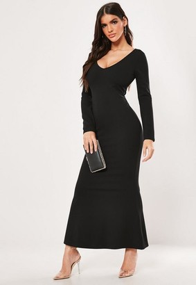 Missguided Petite Black Long Sleeve Cross Back Maxi Dress