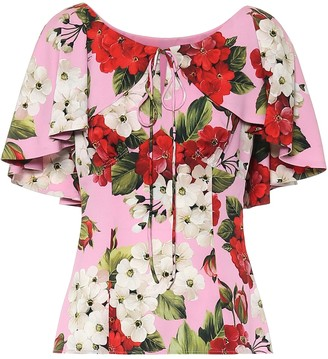 Dolce & Gabbana Floral stretch-silk blouse