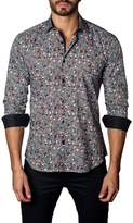 Jared Lang Men's Trim Fit Skull & Bow Ties Sport Shirt