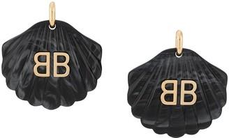 Balenciaga mermaid shell BB earrings